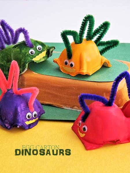 Manualidades Dinosaurios Carton Huevo