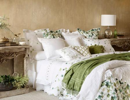 Zara Home Cama Sabanas Verde Y Blanco