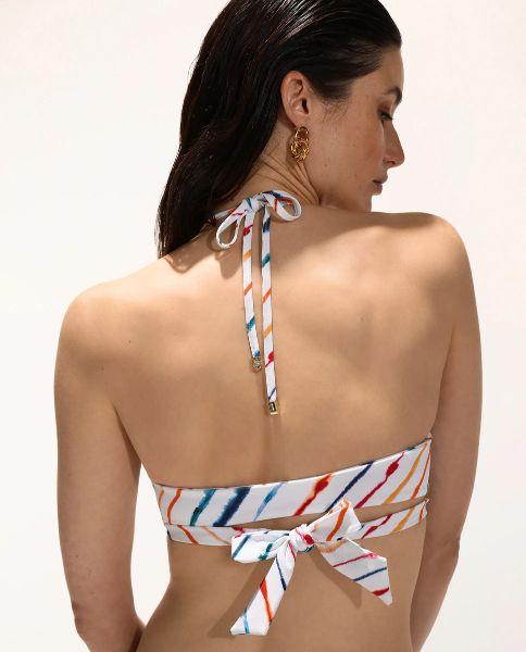 Top de bikini cruzado rayas multicolor