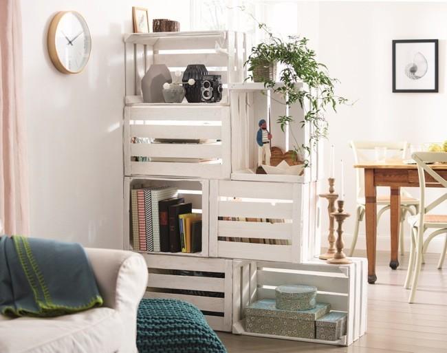 hazlo t mismo mueble de almacenaje y separador de ambientes con cajas de madera