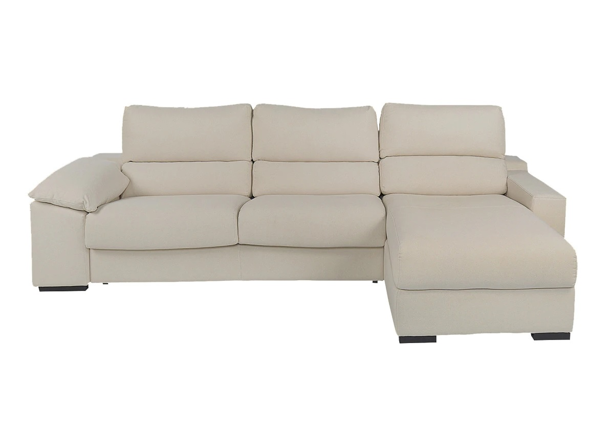 5-seater linen upholstered sofa bed with right chaise longue and chest