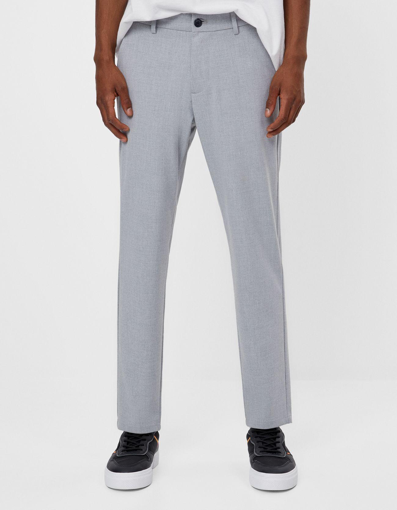Pantalón de traje en gris jaspeado