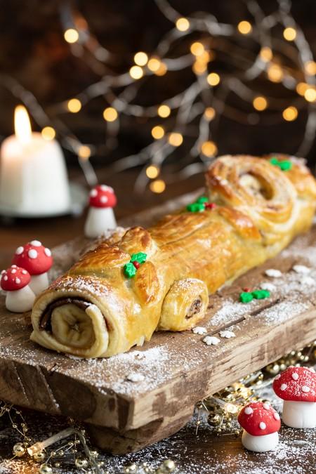 Tronco De Navidad De Hojaldre Y Chocolate 2