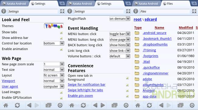 xScope: Menú de opciones y navegación por la SD card