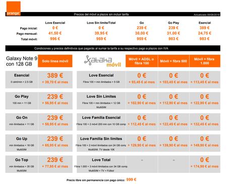 Precios Samsung Galaxy Note 9 De 128 Gb Con Tarifas Orange Y Pago A Plazos