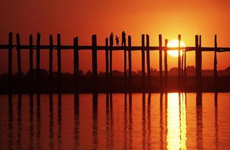 U Bein, el puente de teca más largo del mundo en Amarapura, Myanmar