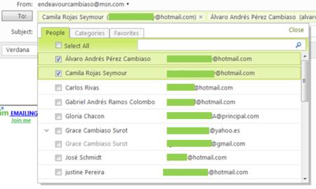 Selector de contactos en Hotmail Wave 3