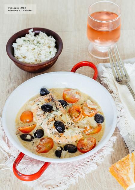 Salmón con aceitunas negras y tomates cherry: receta
