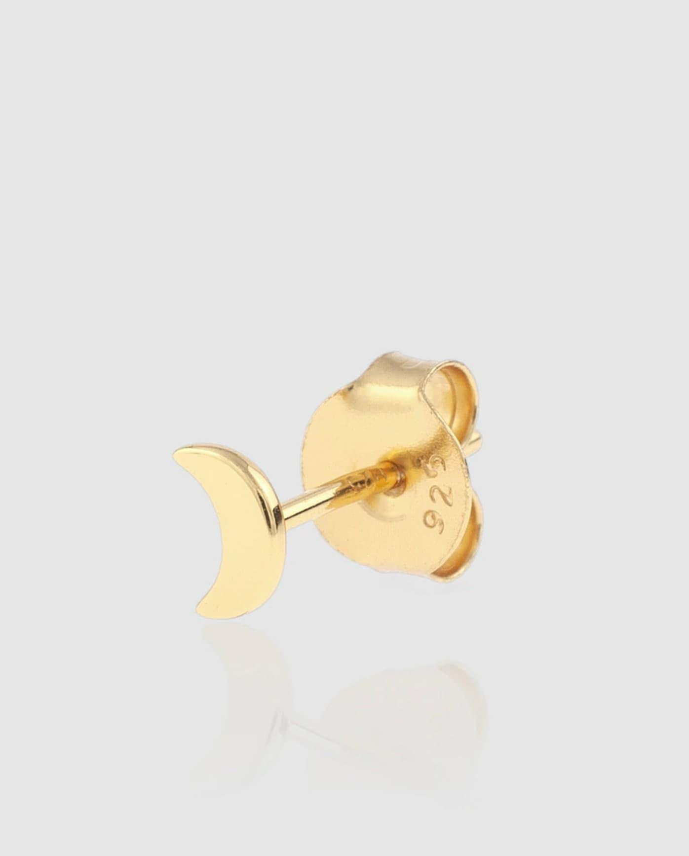 Mini pendiente individual Ágatha Paris Luna de plata dorada