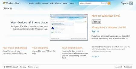 Windows Live Devices llevará las funciones de Live Mesh al usuario común