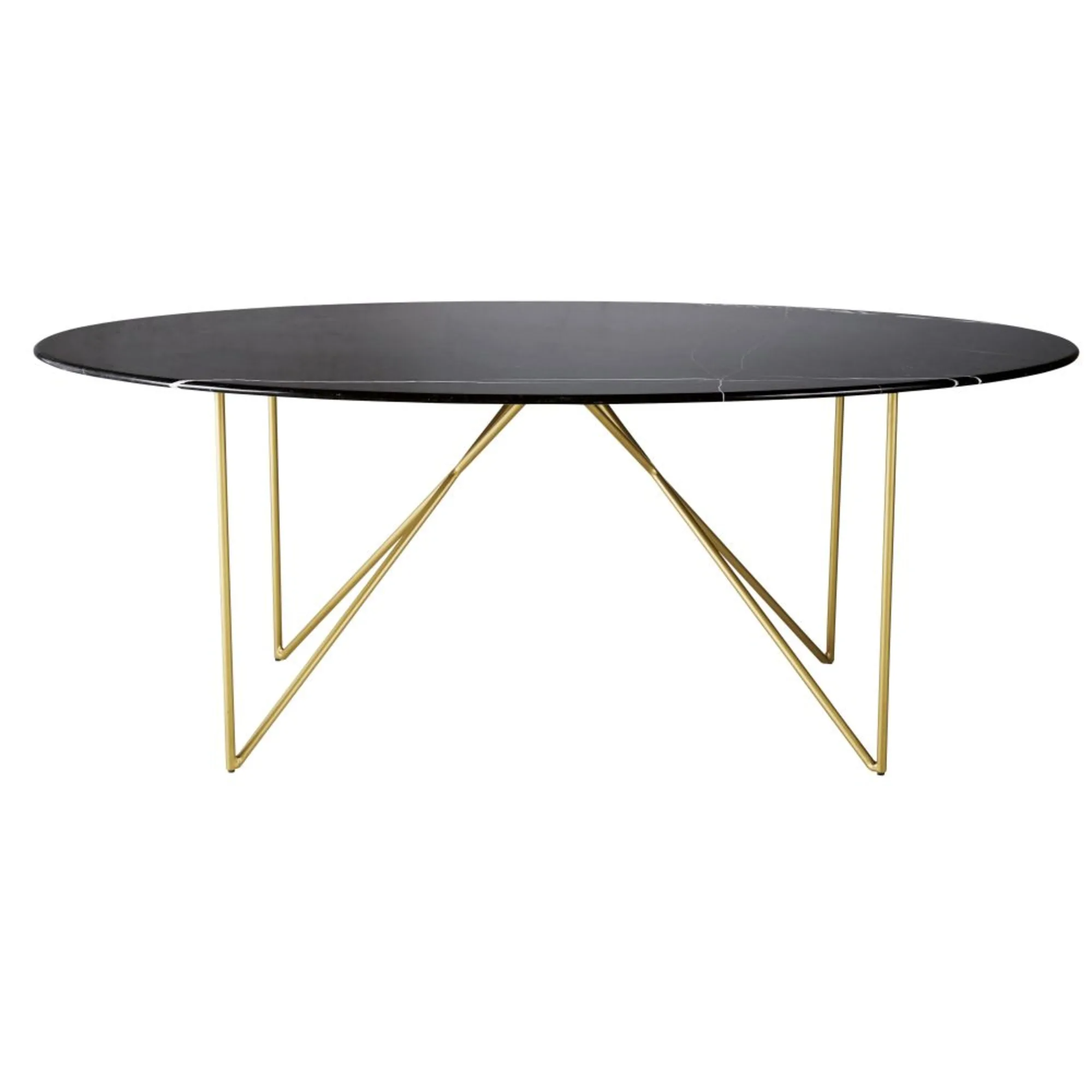 IZMIR.- Mesa de comedor de mármol negro y metal para 4/6 personas L200