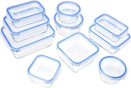 Amazon Basics Recipientes De Cristal Para Alimentos Con Cierre 20 Piezas 10 Envases 10 Tapas Sin Bpa