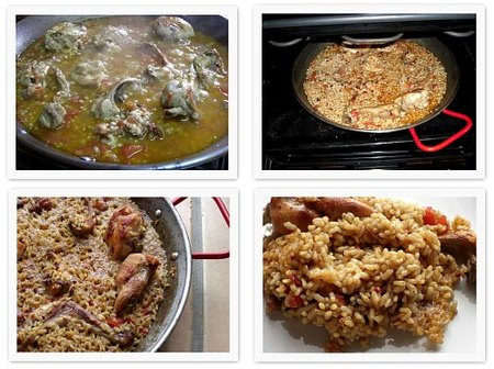 Arroz picante con conejo. Collage 1