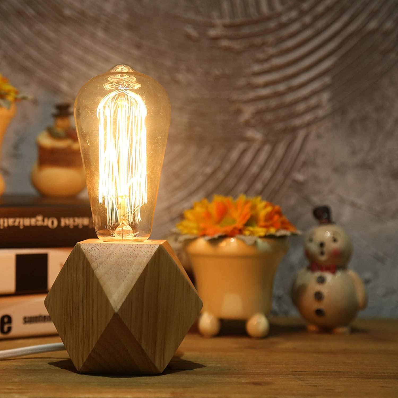 OuXean 2 uds.Lámpara de mesa pequeña Lámpara de noche con base de madera de diamante junto a la lámpara, E27 60W Perfecta para dormitorio, salón u oficina (sin bombilla) [Clase de eficiencia energética A]