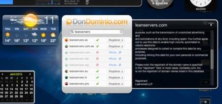 Don Dominio, widget para búsquedas de dominios