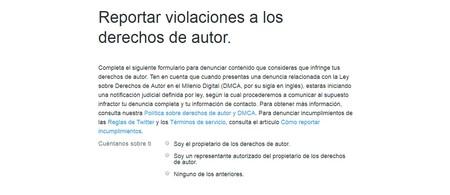 Twitter: Reportar violaciones a los derechos de autor