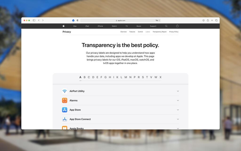 Apple publica las etiquetas de privacidad de todas sus app reunidas en apple.com