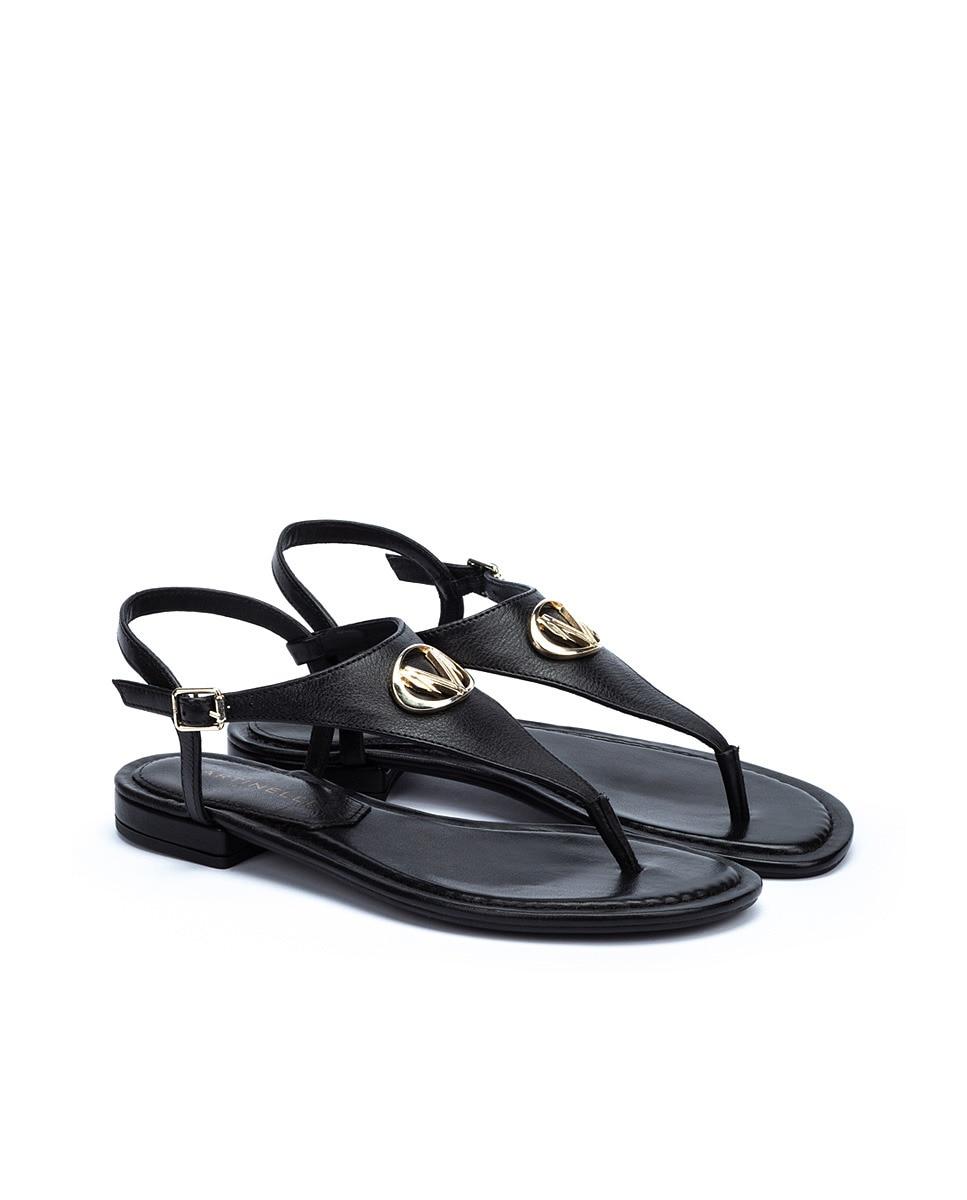 Sandalias planas de mujer Martinelli de piel con hebilla en color negro