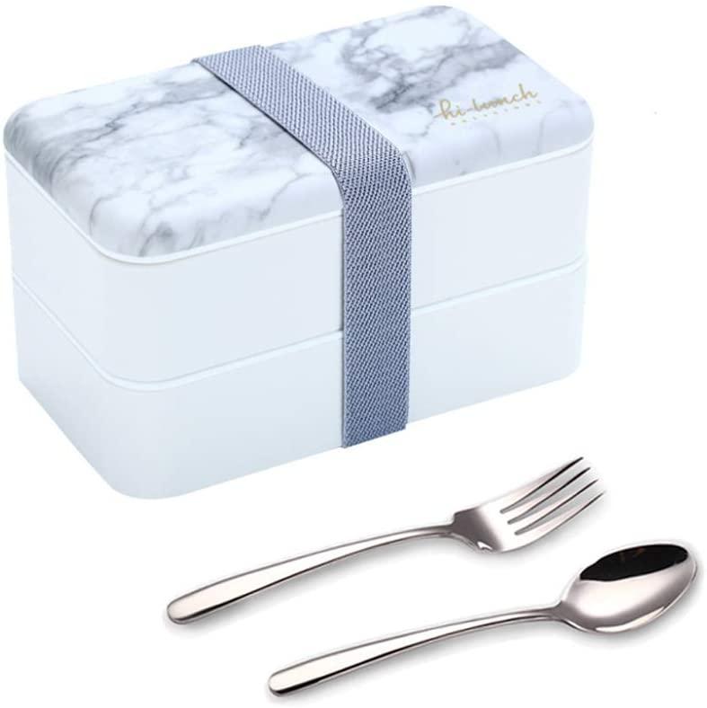 Binoster Fiambrera bento Box Original Lunch Box Lunchbox Caja de Almuerzo contenedor Bundle Divider Estilo japonés con Acero Inoxidable Utensilios Cuchara y Tenedor (Gris marmol)