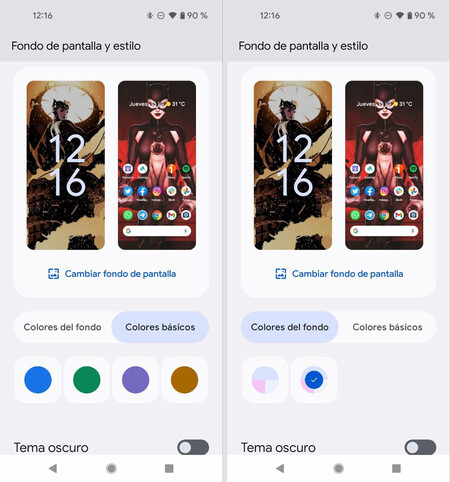 Android 12 lee nuestro fondo de escritorio y nos ofrece colores extraídos del mismo para que personalicemos el sistema