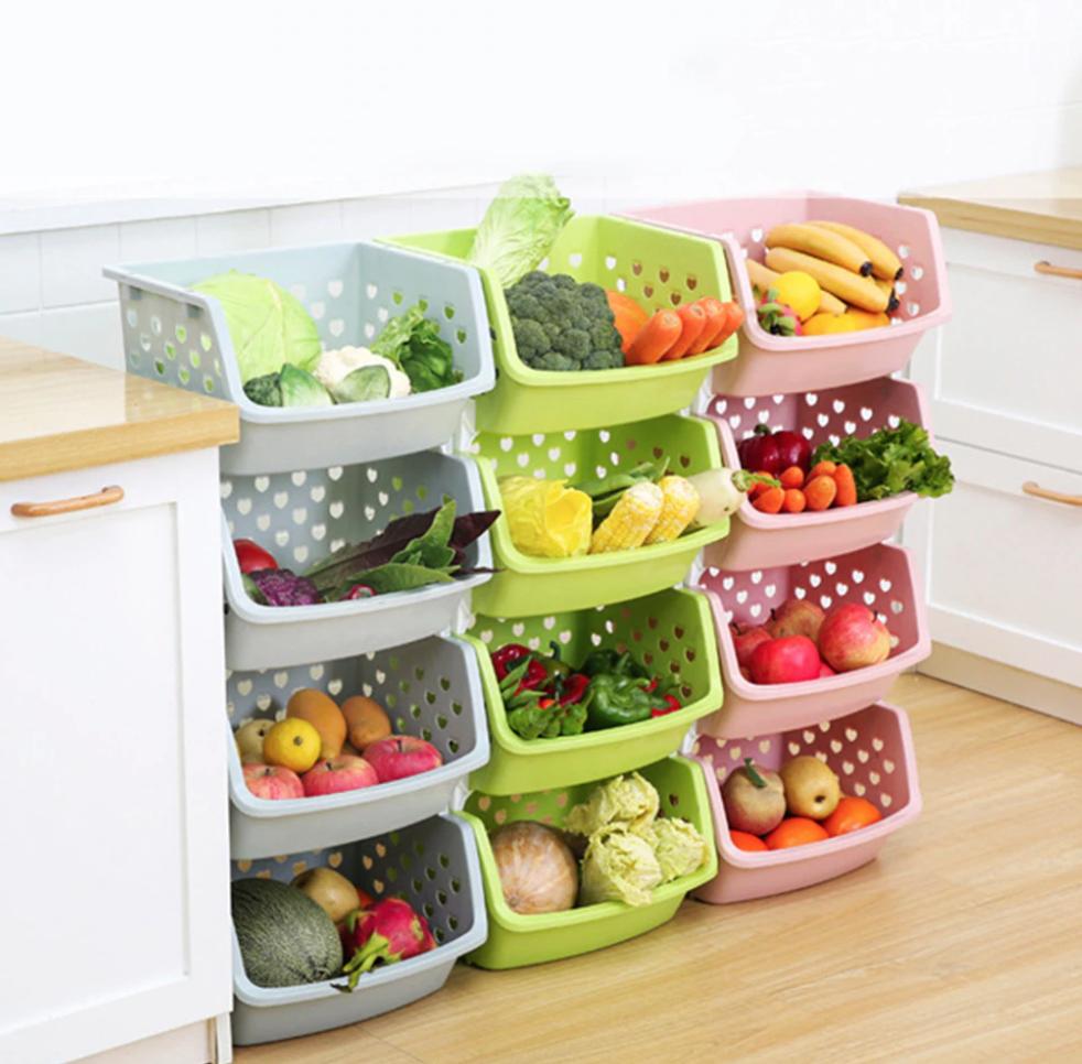 Caja de almacenamiento de vegetales de fruta apilable de una sola cubierta de alta calidad, organizador de cocina, estante de cesta, envío gratis