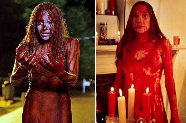 Imagen con la comparativa de Chloë Moretz y Sissy Spacek como 'Carrie'