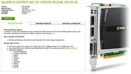 Nvidia lanza actualización de sus controladores para el Mac Pro