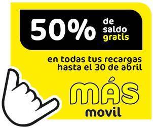 50% de saldo gratis durante 2 meses con MÁSmóvil