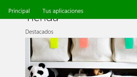 Menú de la aplicación Tienda de Windows 8