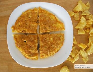 Receta de Tortilla española usando papas fritas