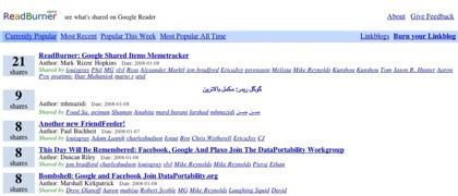 ReadBurner, el memetracker de los elementos compartidos en Google Reader