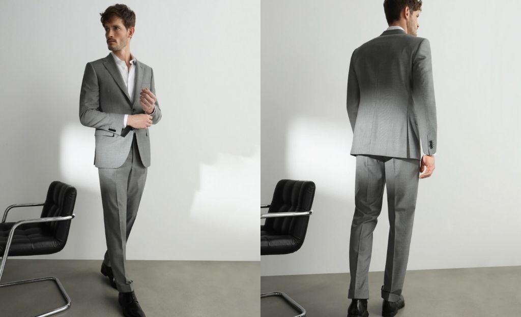Traje de hombre regular oxford gris
