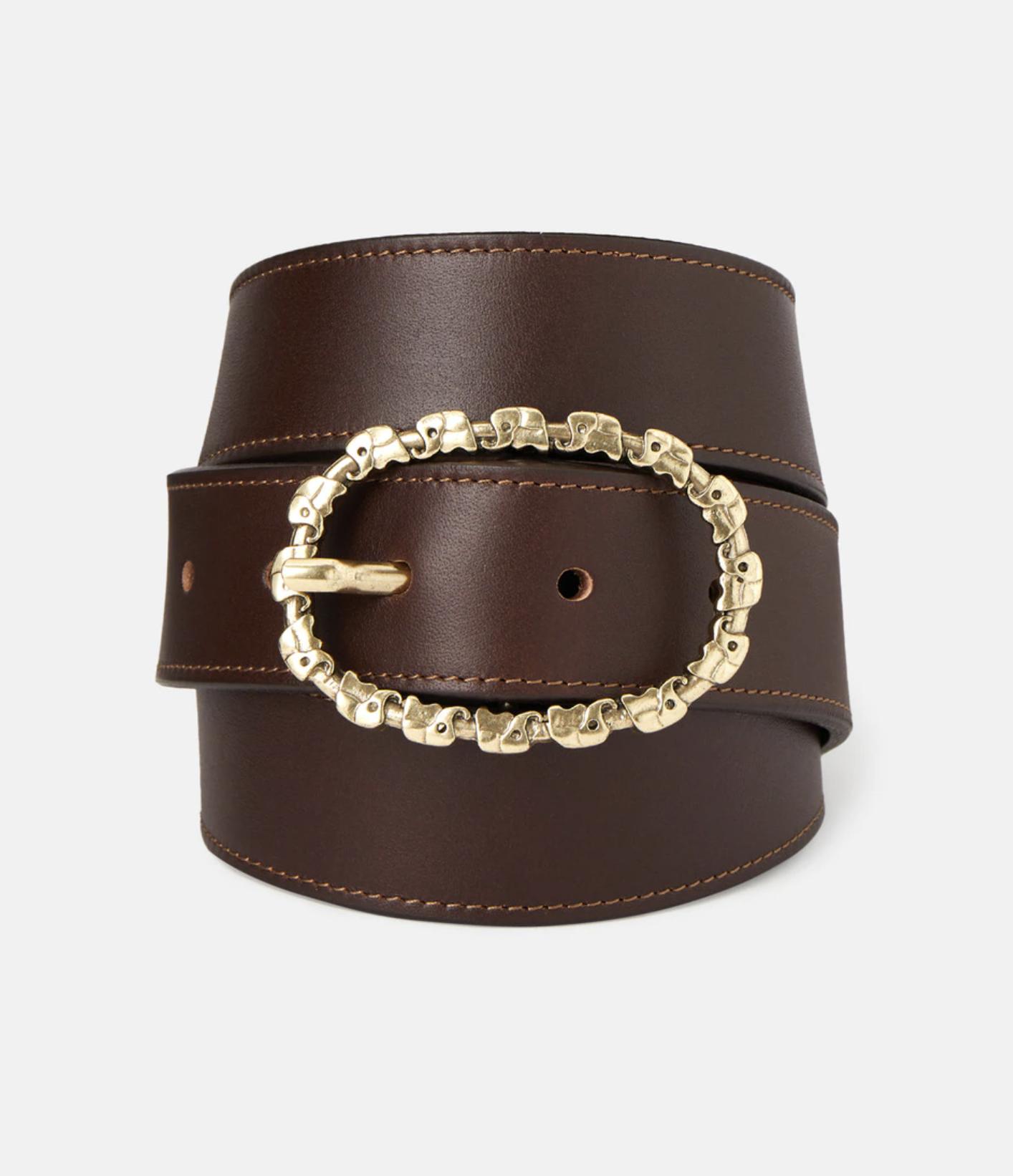Cinturón de mujer El Caballo de piel en marrón con hebilla doble