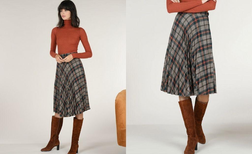Falda plisada con estampado de cuadros