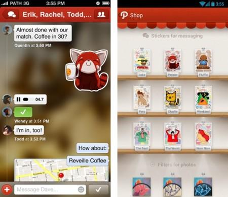 Path 3.0 se renueva con mensajería privada, Stickers y una tienda