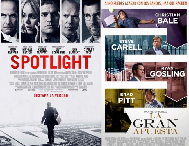 Carteles de Spotlight y La Gran Apuesta (The Big Short)