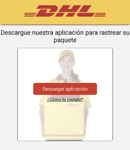 Screen that appears impersonating DHL to download the malicious application