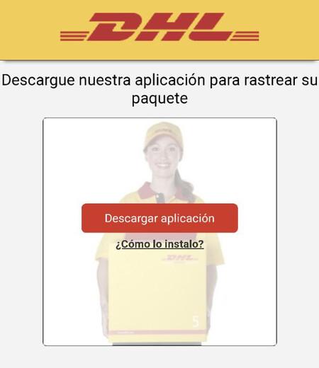 Pantalla que aparece suplantando a DHL para descargar la aplicación maliciosa
