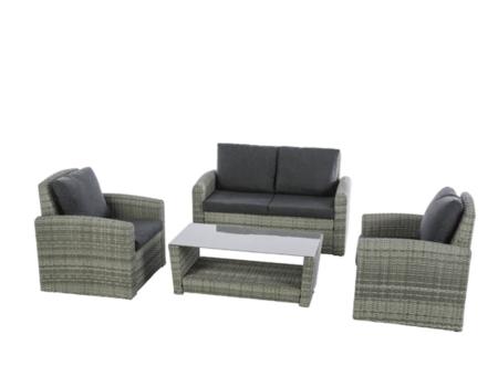 Set Sofas De Exterior De 4 Plazas De Ratan Gris