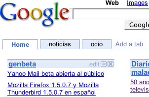 La página personalizada de Google ahora con pestañas