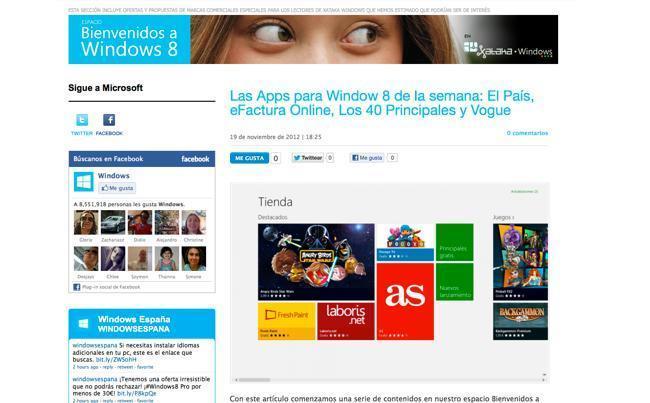 Espacio Bienvenidos a Windows 8