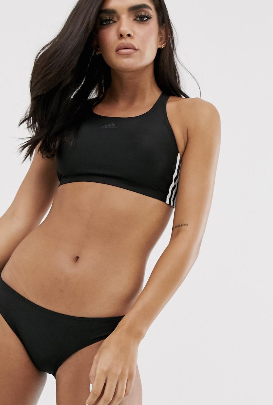 Bikini negro con tres rayas Training de adidas