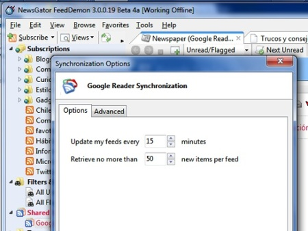 Ya está disponible la sincronización con Google Reader en FeedDemon