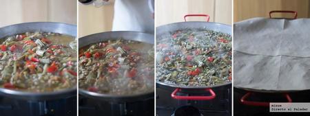 paso a paso paella de verduras