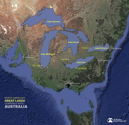 Lagos comparados con Australia.