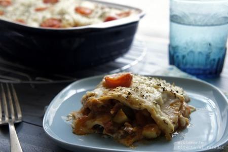 Lasaña de verduras asadas con queso de cabra. Receta