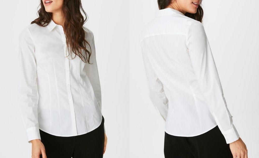 Camisa blanca lisa de corte entallado que realza la silueta