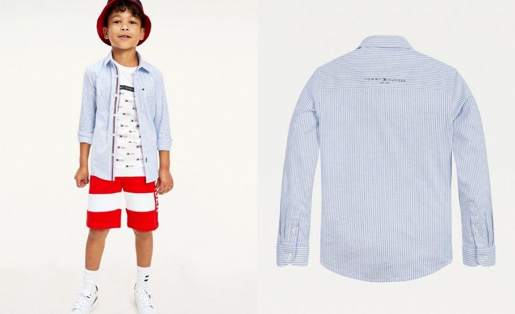 Camisa de niño a rayas Ithaca en azul y blanco.
