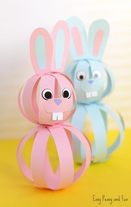 Manualidades Pascua Conejo Tiras Papel