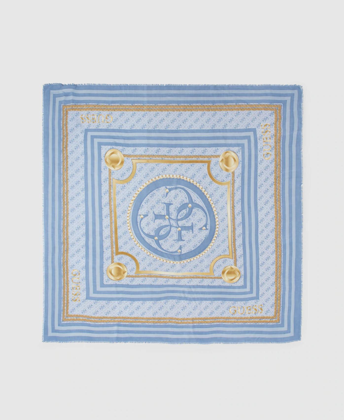 Pañuelo azul Guess con estampado de la marca
